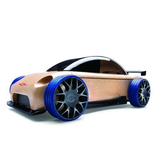 Mini Carro Esporte Sedan Preto e Azul S9-R - Automoblox